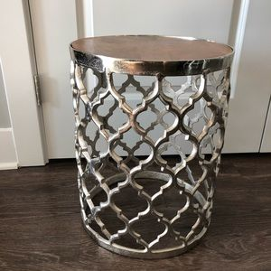 Silver Wooden Decorative Piece/End Table